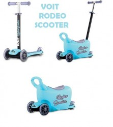 Voit - Voit Rodeo Led Işıklı 3 Teker Scooter Mavi + Çocuk Gezdirme Aparatı + Zil