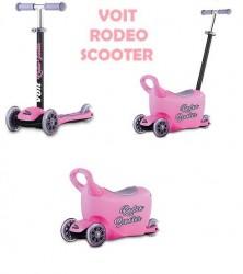 Voit - Voit Rodeo Led Işıklı 3 Teker Scooter Pembe + Çocuk Gezdirme Aparatı + Zil