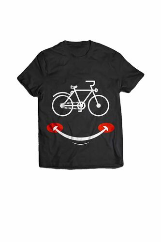 BikeStyle - BikeStyle Tshirt Özel Tasarım Gülen Yüz -Small -Siyah